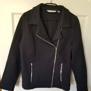 Black quilted knit moto style blazer